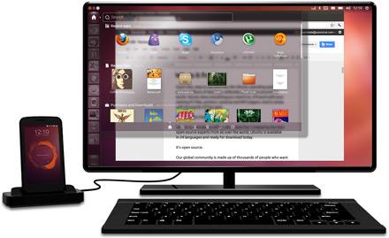 """""""סנכרון אוטומטי בין המחשב לסמארטפון""""(בתמונה:Ubuntu למחשב לצד Ubuntu לסלולר"""