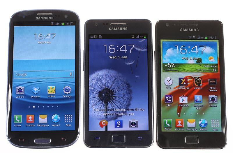 ה-Galaxy S2 , ה-Galaxy S2 + וה-Galaxy S3 (משמאל לימין)